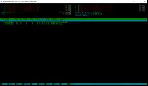 Htop w Windows. Widzi wszystkie rdzenie, cały ram, ale tak naprawdę działa w klatce. Nie potrafi zamknąć procesów windowsowych. Póki co bardziej przypomina to sandboxa niż aplikacje działającą na równi z windowsową.